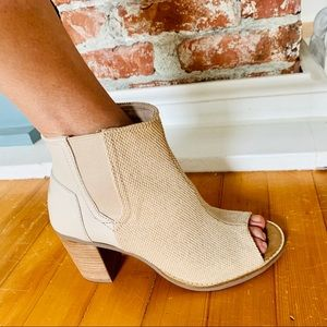NWOB TOMS Leather And Fabric Bootie Size 8W